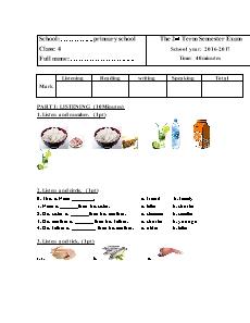 English Grade 4 - The 2nd Term Semester Exam - School year 2016-2017