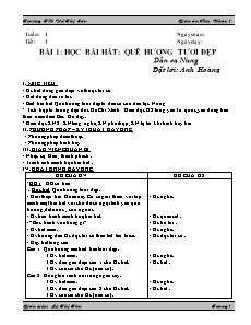 Giáo án Âm nhạc Lớp 1 - Chương trình cả năm - Lê Thị Thu