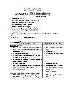 Giáo án Âm nhạc Lớp 2 - Tiết 30: Học hát bài Bắc Kim Thang - Năm học 2016-2017 - Nguyễn Thị Kim Hoàng