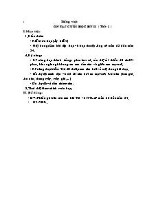 Giáo án Tập viết Lớp 2 - Ôn tập cuối Học kì II (Tiết 1)