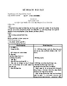 Kế hoạch bài dạy Tập làm văn Lớp 4 - Tuần 23: Luyện tập miêu tả các bộ phận của cây cối - Nguyễn Thị Tuyết
