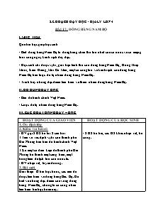 Kế hoạch dạy học Địa lí Lớp 4 - Bài 17: Đồng Bằng Nam Bộ