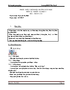 Kế hoạch giảng dạy Tự nhiên xã hội Lớp 3 - Bài 41: Thân cây - Năm học 2016-2017 - Nguyễn Thị Bích