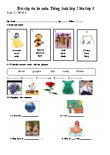 Bài tập ôn hè môn Tiếng Anh lớp 2 lên lớp 3