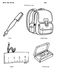 Bài tập Tiếng Anh Lớp 1 - Chủ đề: Đồ dùng học tập (Phần 1) - Phạm Kim Hiếu