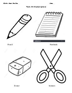 Bài tập Tiếng Anh Lớp 1 - Chủ đề: Đồ dùng học tập (Phần 2) - Phạm Kim Hiếu