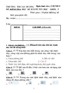 Đề kiểm tra giữa Học kì II môn Tin học Lớp 5 - Năm học 2012-2013 - Trường Tiểu học Cao Dương