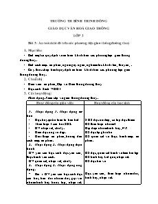 Giáo án An toàn giao thông Lớp 3 - Bài 3: An toàn khi đi trên các phương tiện giao thông đường thủy
