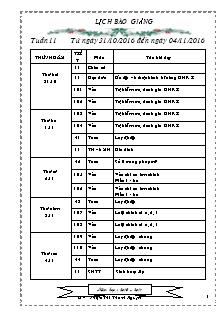 Giáo án Lớp 1 - Tuần 11 - Năm học 2016-2017 - Phạm Thị Thanh Nguyệt