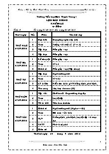 Giáo án Lớp 2 - Tuần 6 - Năm học 2013-2014 - Cao Hữu Sinh