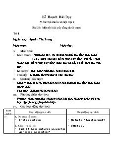 Kế hoạch bài dạy môn Tự nhiên xã hội Lớp 2 - Bài 26: Một số loài cây sống dưới nước - Nguyễn Thu Trang