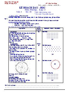 Kế hoạch dạy học môn Thể dục Lớp 3 - Học kì 1 - Trần Nam Hưng