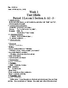 Lesson Plan English Grade 3 - Period 1 to 65 - School year 2016-2017