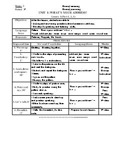 Lesson plan English Grade 4 - Unit 1 to 10