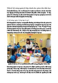Một số kỹ năng quản lý lớp dành cho giáo viên tiểu học